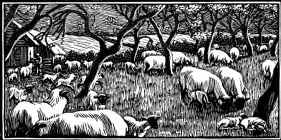 wood-engraving original print: April for Time and Tide calendar